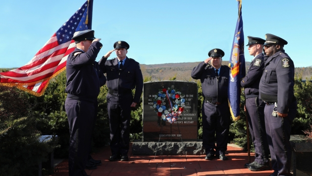 Coxsackie officers at memorial for veterans
